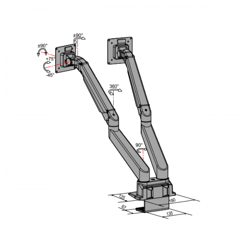Devia Duo 2-10 kilo - monitorarm